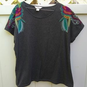 Gorgeous, embroidered gray shirt blouse XL
